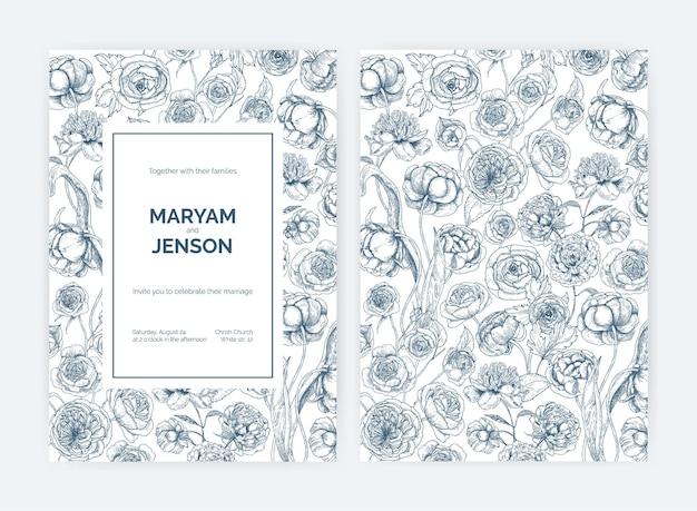 Conjunto de convites de casamento lindos ou modelos de cartão para salvar a data
