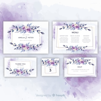 Conjunto de convites de casamento muito floral