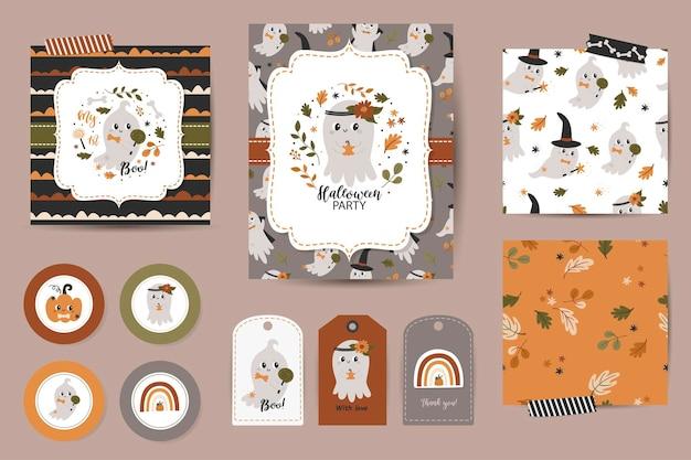 Conjunto de convites de halloween, cartões de agradecimento, tags e padrões sem emenda. modelos com abóboras fofas