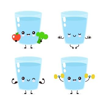 Conjunto de copo de água feliz sorridente fofo.