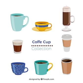 Conjunto de copo de café de oito Vetor grátis