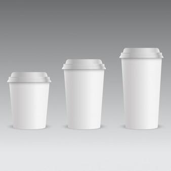 Conjunto de copo de café de papel realista