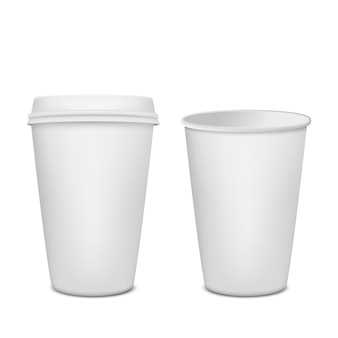 Conjunto de copo de café de papel