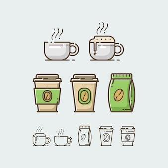 Conjunto de copo de café