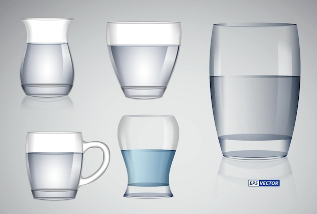 Conjunto de copo de cristal realista ou copo de vidro transparente para beber ou copo vazio de bebidas alcoólicas