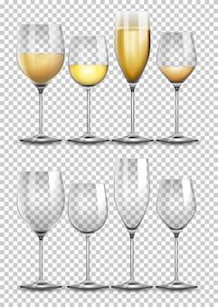 Conjunto de copo de vinho em transparente