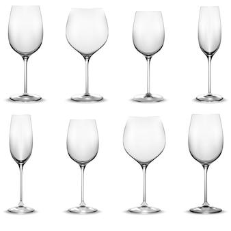 Conjunto de copo de vinho transparente. taças de vinho. vetor realista
