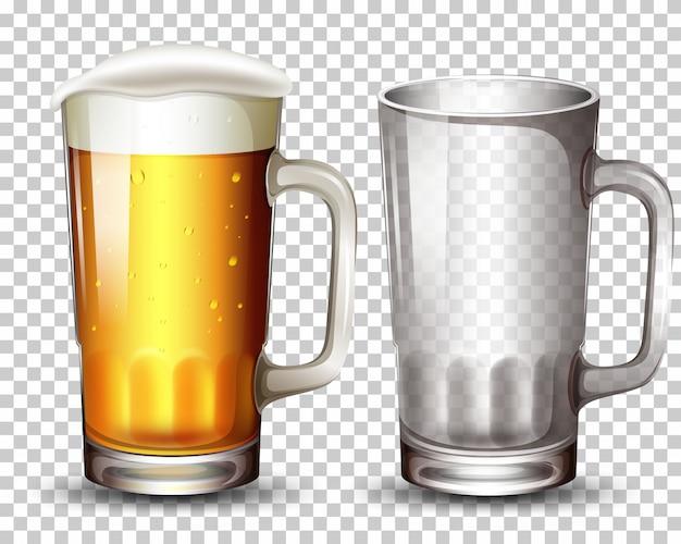 Conjunto de copo e cerveja