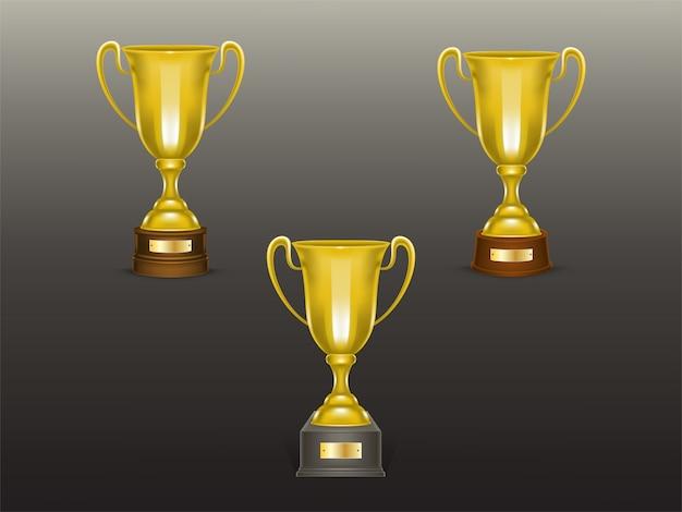 Conjunto de copo realista 3d, troféus de ouro para o vencedor da competição, campeonato.