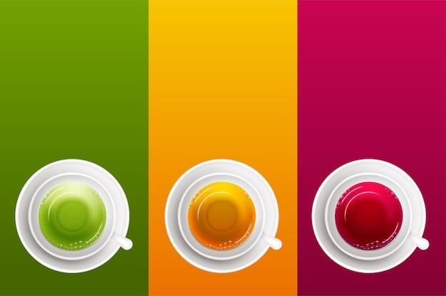Conjunto de copos 3d realistas de bebida quente
