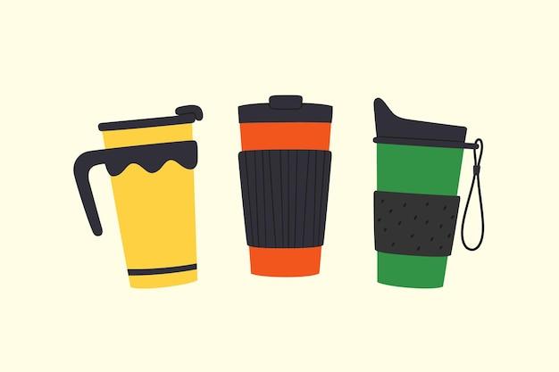 Conjunto de copos com tampa e pega. copos reutilizáveis e canecas térmicas. diferentes designs de garrafa térmica para levar café. ilustrações vetoriais isoladas em estilo plano e cartoon sobre fundo claro.