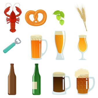 Conjunto de copos de cerveja, garrafa e lanche.