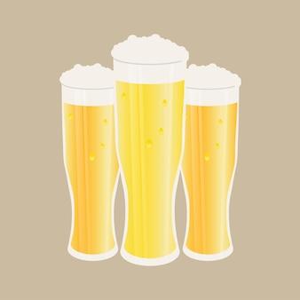Conjunto de copos de cerveja. ícone de vetor com bebidas alcoólicas. cerveja de trigo, lager, cerveja artesanal, ale.