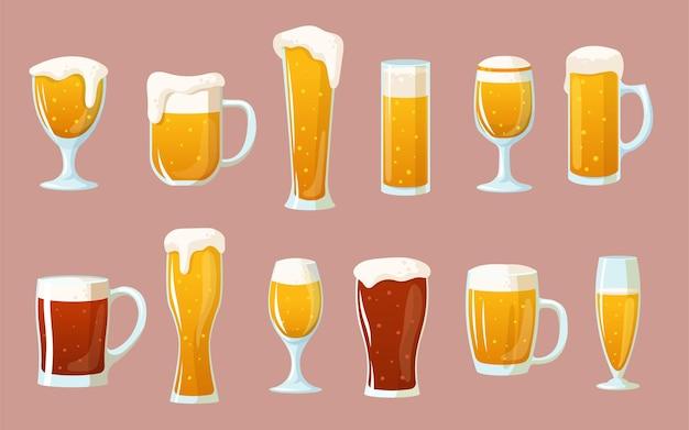 Conjunto de copos de desenho animado com cerveja clara e escura