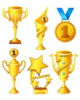 Conjunto de copos de ouro e medalha.