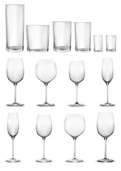 Conjunto de copos de vidro vazios e copos de vinho