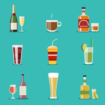 Conjunto de copos e garrafas