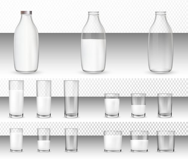 Conjunto de copos realistas e garrafas com um leite.