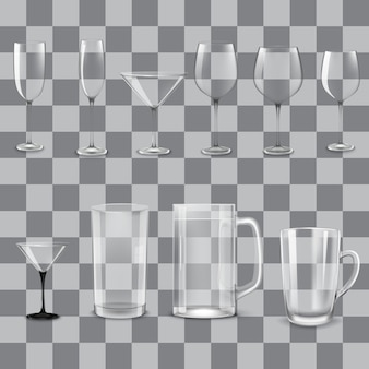 Conjunto de copos vazios transparentes