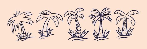 Conjunto de coqueiros em lugar tropical com ilustração em estilo retro