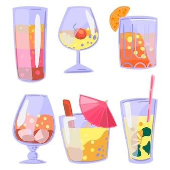 Conjunto de coquetéis brilhantes. mão-extraídas ilustrações vetoriais. coleção de cliparts coloridos em estilo cartoon. bebidas em copos. elementos abstratos para design de verão.