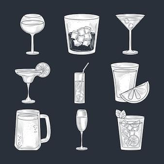 Conjunto de coquetéis, cerveja, vinho e bebida alcoólica, ícones de estilo de linha fina