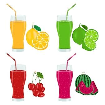 Conjunto de coquetéis coloridos de frutas cítricas com limão suculento, limão, cerejas e melancia