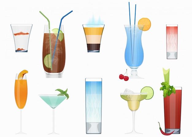 Conjunto de coquetéis de álcool