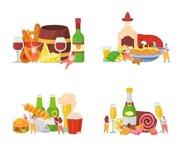 Conjunto de coquetéis e aperitivos