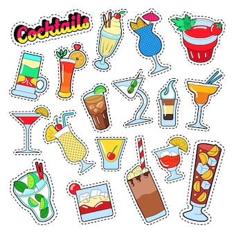 Conjunto de coquetéis e bebidas para adesivos, emblemas e adesivos.