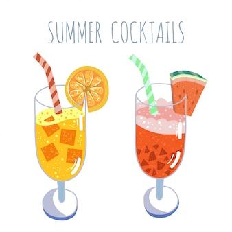 Conjunto de coquetéis tropicais, bebidas de verão