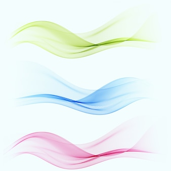 Conjunto de cor abstrata onda fumaça transparente azul, rosa, verde ondulado