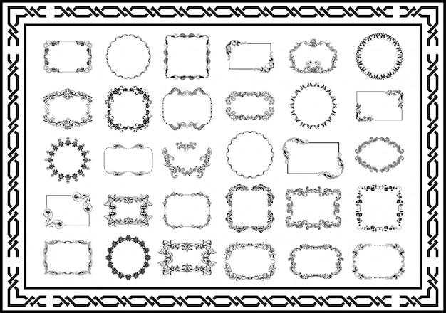 Conjunto de cor preta de divisores de quadros vintage