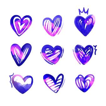 Conjunto de coração com ilustração desenhada à mão