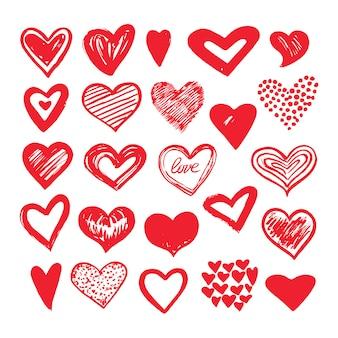 Conjunto de coração de desenho
