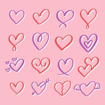 Conjunto de coração de estilo desenhado à mão