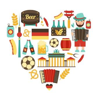 Conjunto de coração de viagem alemanha