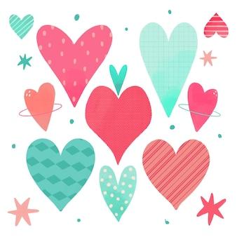 Conjunto de coração desenhado à mão