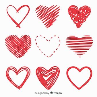 Conjunto de coração desenhado de mão