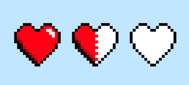 Conjunto de coração pixel art