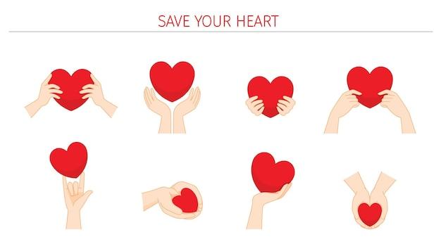 Conjunto de coração vermelho em mãos humanas segurando com cuidado e ternura salve seu coração amor e dia dos namorados