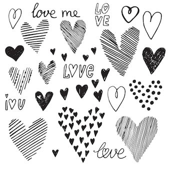 Conjunto de coração, vetor ícones para seu projeto. pode ser usado para convite de casamento, cartão para dia dos namorados ou cartão sobre o amor.