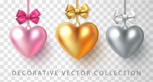 Conjunto de corações 3d ouro prata e rosa brilhantes