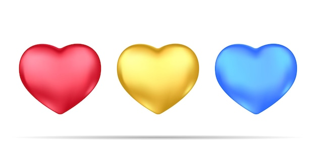 Conjunto de corações 3d realistas, isolado no fundo branco.