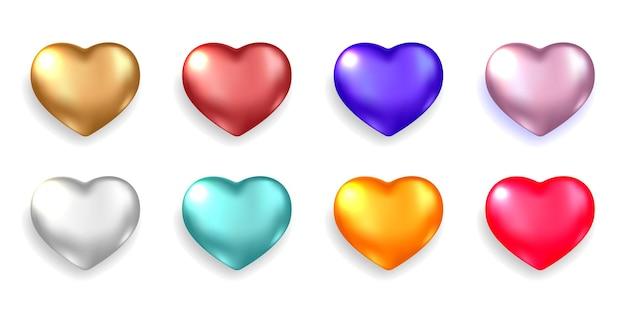 Conjunto de corações 3d realistas isolados