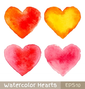 Conjunto de corações coloridos em aquarela, ilustração vetorial