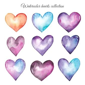 Conjunto de corações coloridos em aquarela