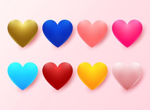 Conjunto de corações coloridos realistas em rosa