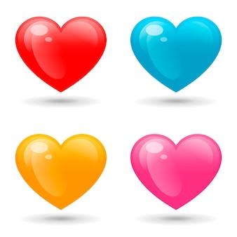 Conjunto de corações coloridos