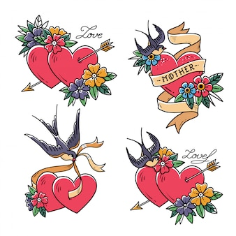 Conjunto de corações com pássaros. estilo da velha escola. dois corações perfurados pela flecha. corações com flor e andorinha.